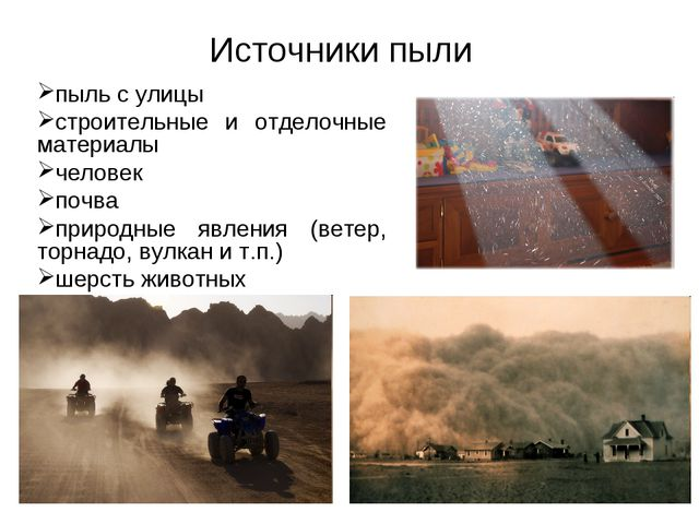 Источники пыли пыль с улицы строительные и отделочные материалы человек почва...