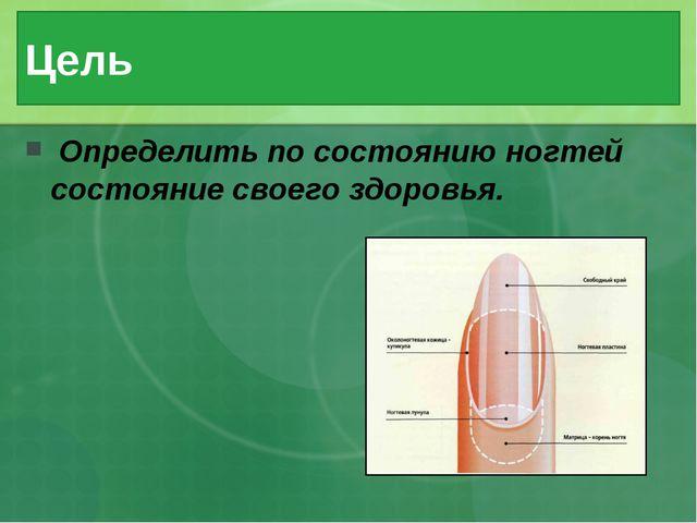 Цель Определить по состоянию ногтей состояние своего здоровья.