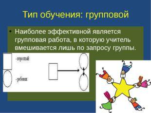 Тип обучения: групповой Наиболее эффективной является групповая работа, в кот