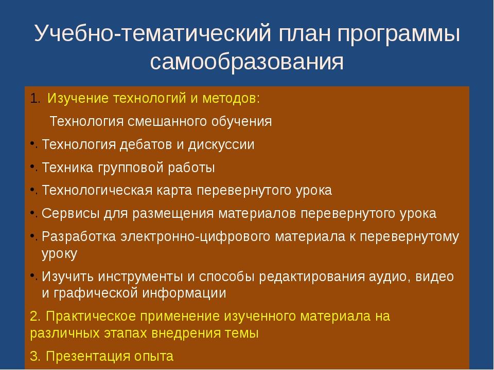 Учебно-тематический план программы самообразования Изучение технологий и мето...