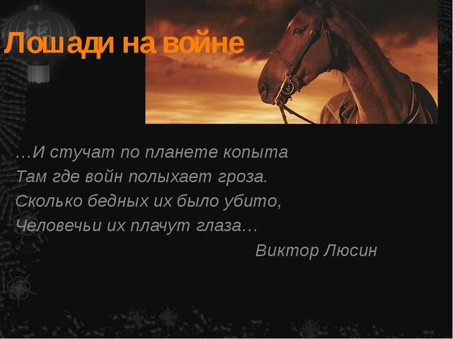 Лошади на войне …И стучат по планете копыта Там где войн полыхает гроза. Скол...