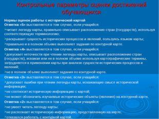 Контрольные параметры оценки достижений обучающихся Нормы оценок работы с ис