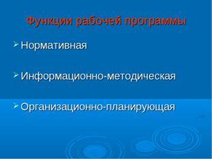 Функции рабочей программы Нормативная Информационно-методическая Организацион