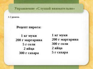 Упражнение «Слушай внимательно» Рецепт пирога: 1 кг муки 200 г маргарина 5 г