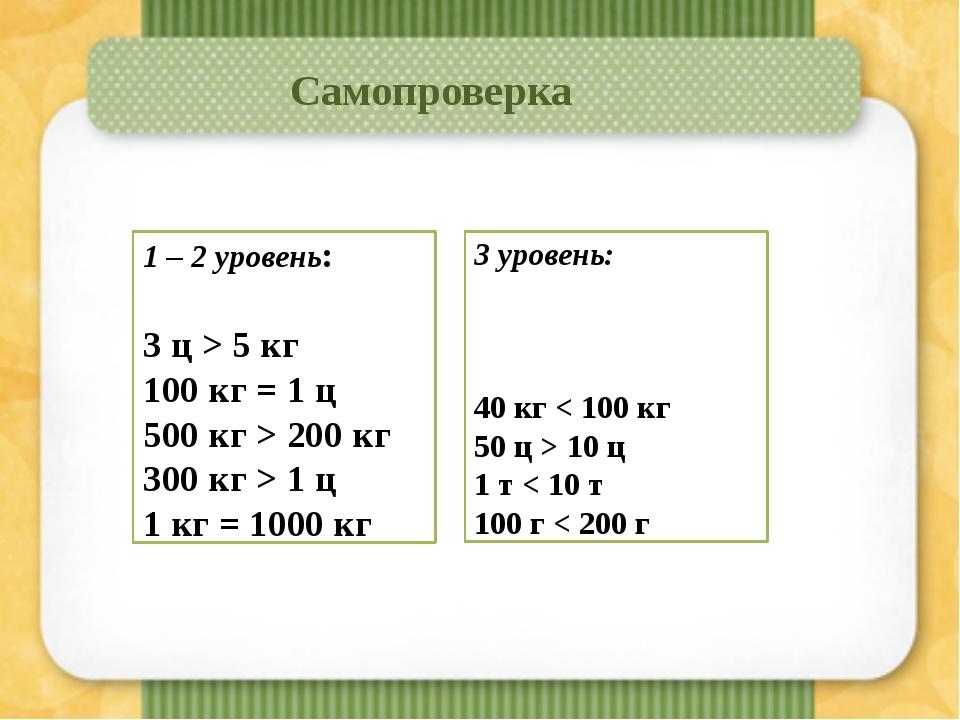 Самопроверка 3 уровень: 40 кг < 100 кг 50 ц > 10 ц 1 т < 10 т 100 г < 200 г...