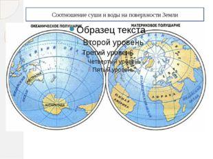 Соотношение суши и воды на поверхности Земли
