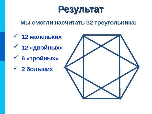 12 маленьких 12 «двойных» 6 «тройных» 2 больших Мы смогли насчитать 32 треуг...