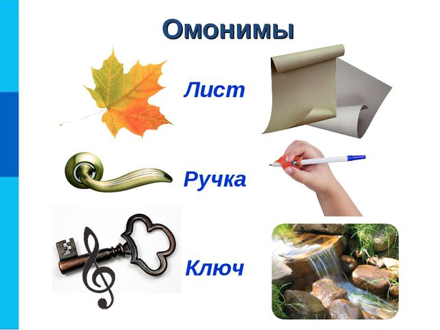 Омонимы Лист Ручка Ключ