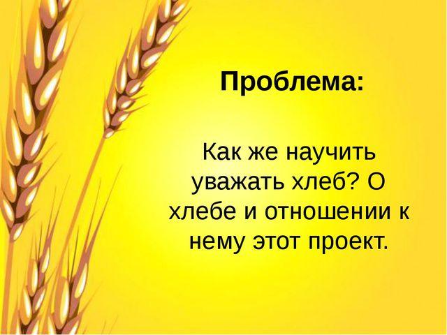 Проблема: Как же научить уважать хлеб? О хлебе и отношении к нему этот проект.