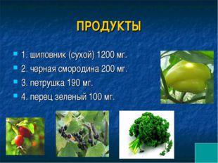 ПРОДУКТЫ 1. шиповник (сухой) 1200 мг. 2. черная смородина 200 мг. 3. петрушка