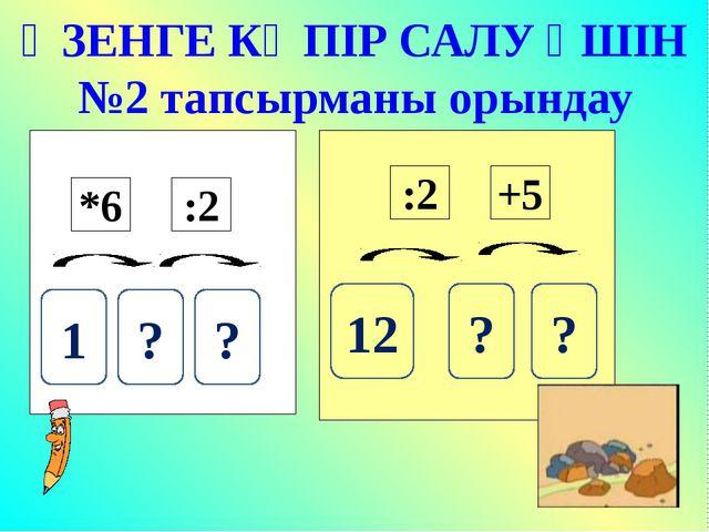 ӨЗЕНГЕ КӨПІР САЛУ ҮШІН №2 тапсырманы орындау 1 ? ? 12 ? ? *6 :2 :2 +5
