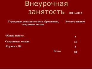 Внеурочная занятость 2011-2012 Учреждение дополнительного образования, спорт