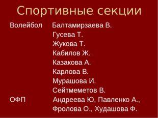 Спортивные секции Волейбол Балтамирзаева В. Гусева Т. Жукова Т. Кабилов Ж. Ка