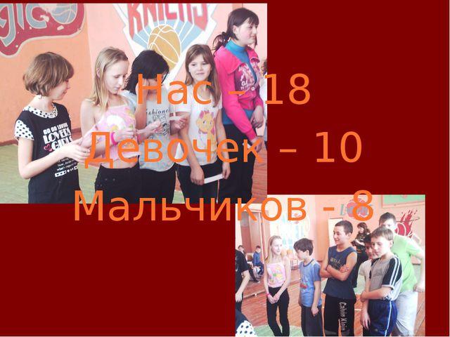 Нас – 18 Девочек – 10 Мальчиков - 8