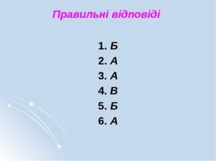 1. Б 2. А 3. А 4. В 5. Б 6. А Правильні відповіді