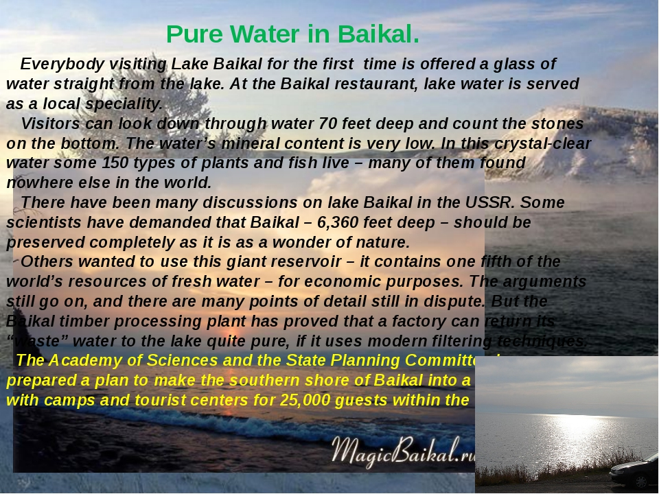 Pure Water in Baikal. Everybody visiting Lake Baikal for the first time is of...