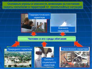 Основные угрозы и опасности, влияющие на состояние защиты населения и террит