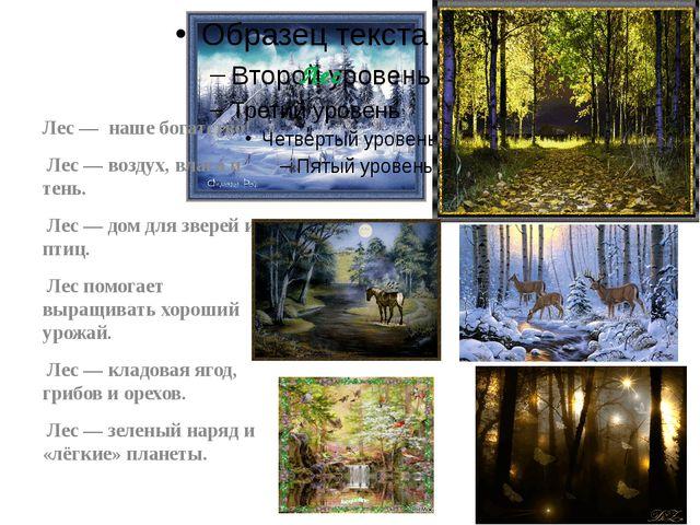 Лес Лес — наше богатство! Лес — воздух, влага и тень. Лес — дом для зверей и...