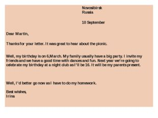 Novosibirsk Russia 10 September Dear Martin, Thanks for your letter. It was