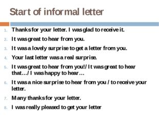 Start of informal letter Thanks for your letter. I was glad to receive it. It