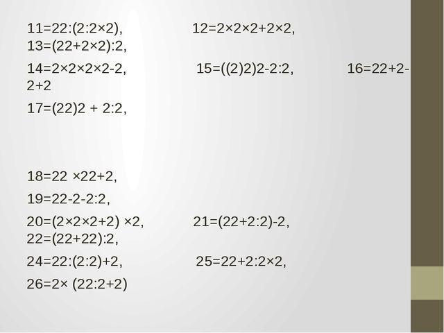11=22:(2:2×2), 12=2×2×2+2×2, 13=(22+2×2):2, 14=2×2×2×2-2, 15=((2)2)2-2:2, 16=...
