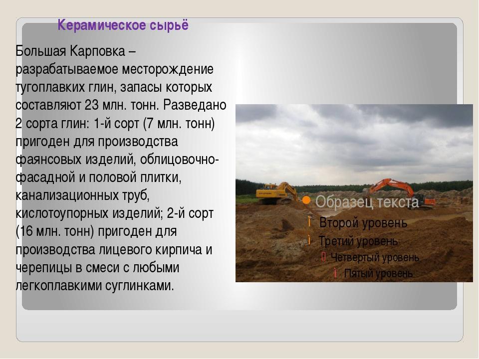 Керамическое сырьё Большая Карповка – разрабатываемое месторождение тугоплав...