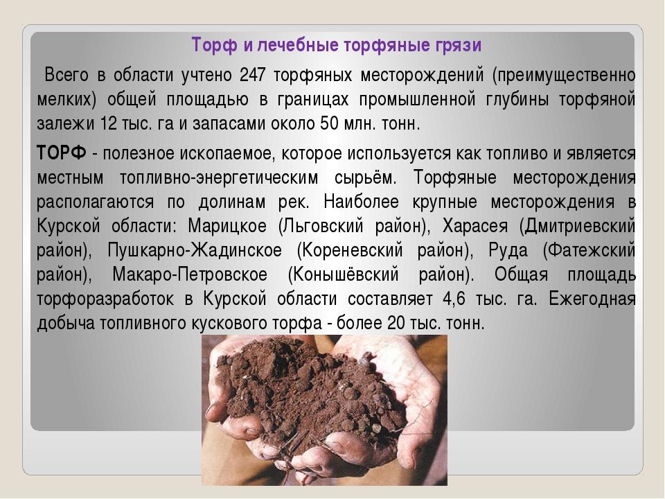 Торф и лечебные торфяные грязи Всего в области учтено 247 торфяных месторожд...