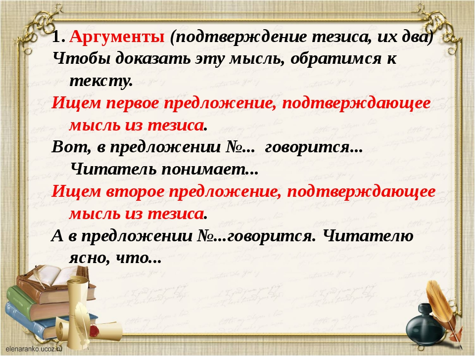 Аргументы (подтверждение тезиса, их два) Чтобы доказать эту мысль, обратимся...