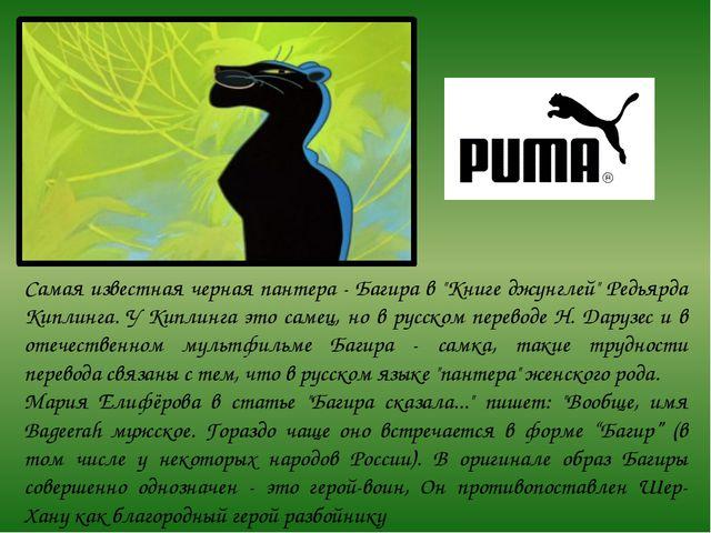 """Самая известная черная пантера - Багира в """"Книге джунглей"""" Редьярда Киплинга...."""