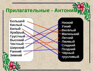 Прилагательные - Антонимы Большой Кислый Белый Храбрый Грустный Высокий Честн