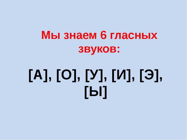 Мы знаем 6 гласных звуков: [А], [О], [У], [И], [Э], [Ы]