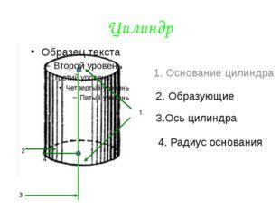 Цилиндр 1 2 3 4 1. Основание цилиндра 2. Образующие 3.Ось цилиндра 4. Радиус
