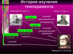 История изучения темперамента желчь черная кровь слизь желчь желтая Гиппократ