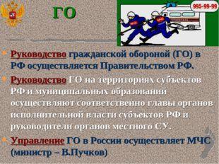 ГО Руководство гражданской обороной (ГО) в РФ осуществляется Правительством Р