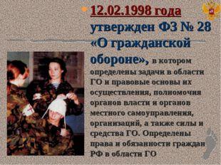 12.02.1998 года утвержден ФЗ № 28 «О гражданской обороне», в котором определе