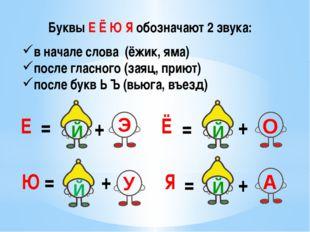 Буквы Е Ё Ю Я обозначают 2 звука: Е Ё Ю Я = + = + + + = = в начале слова (ёжи