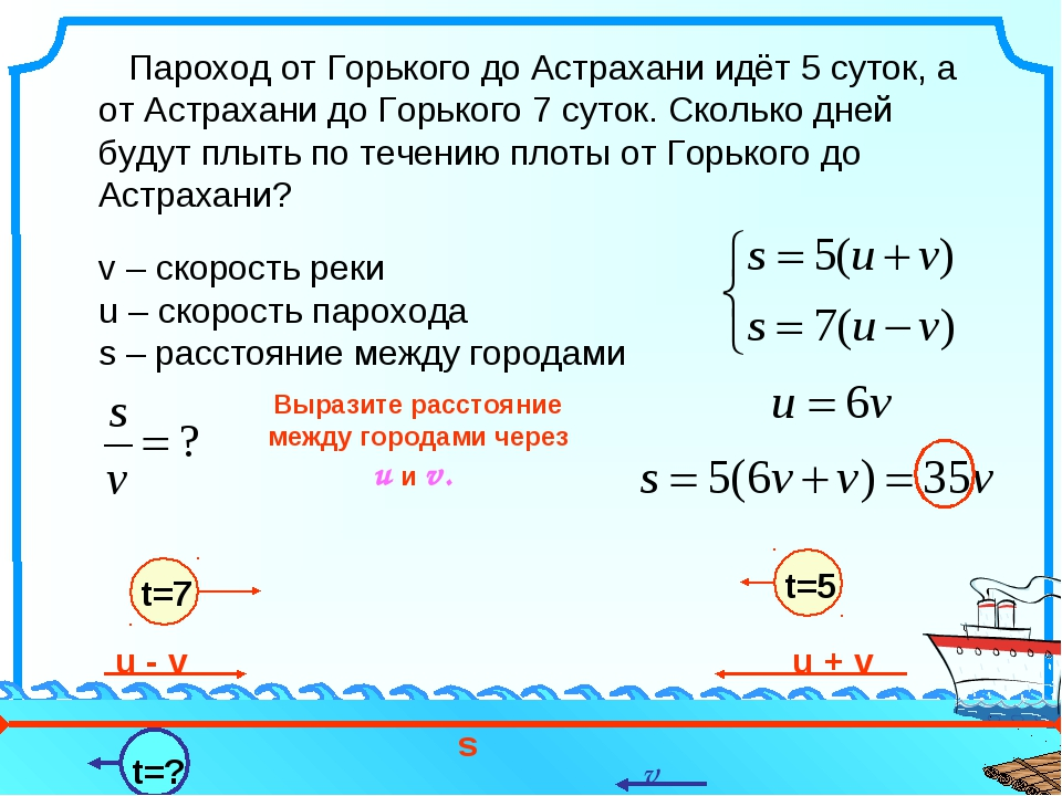 Пароход от Горького до Астрахани идёт 5 суток, а от Астрахани до Горького 7...