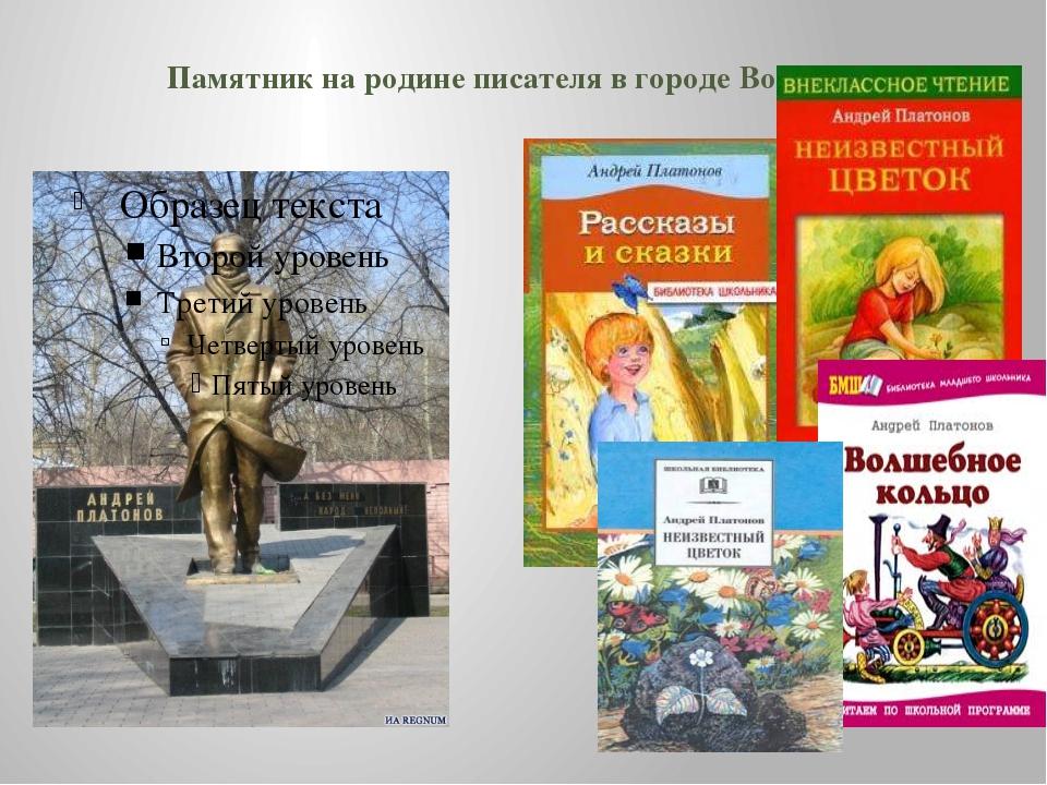 Памятник на родине писателя в городе Воронеже