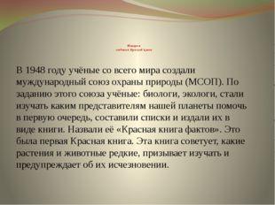 История создания Красной книги В 1948 году учёные со всего мира создали мужд