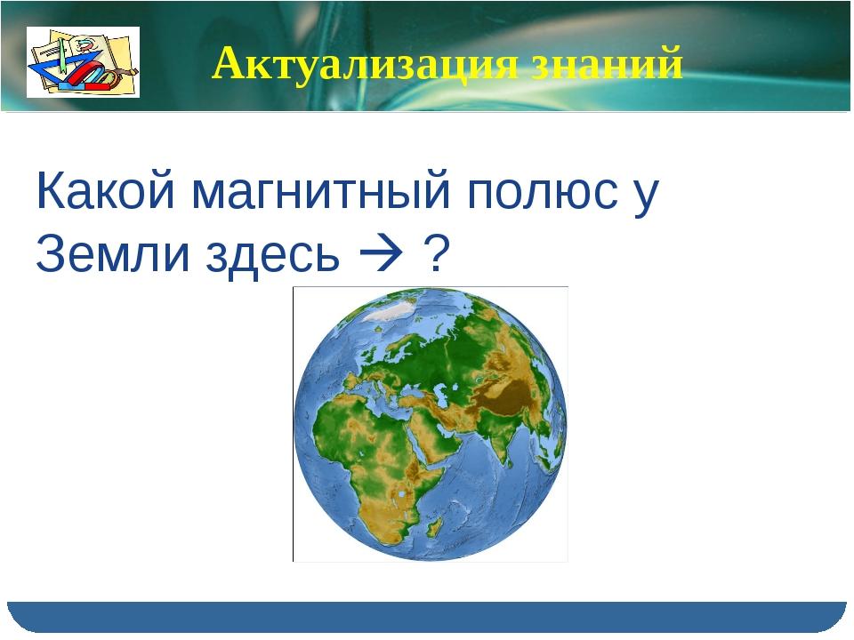 Актуализация знаний Какой магнитный полюс у Земли здесь  ?