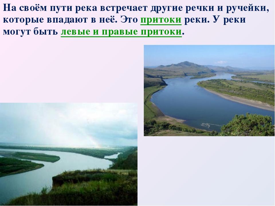 На своём пути река встречает другие речки и ручейки, которые впадают в неё. Э...