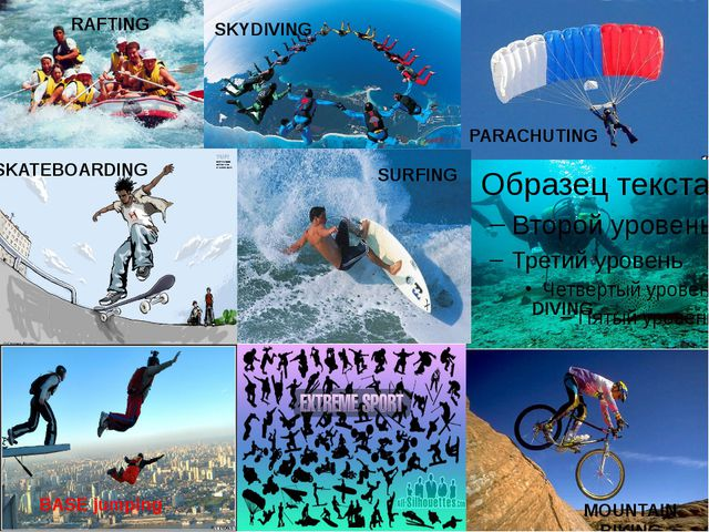 SKATEBOARDING BASE jumping PARACHUTING DIVING MOUNTAIN BIKING RAFTING SKYDIV...