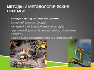 МЕТОДЫ И МЕТОДОЛОГИЧЕСКИЕ ПРИЕМЫ: Методы и методологические приемы: Словесный