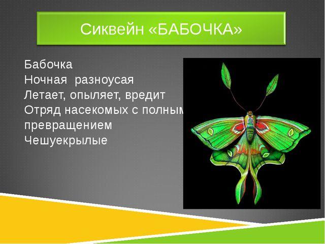Бабочка Ночная разноусая Летает, опыляет, вредит Отряд насекомых с полным пре...