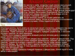 Аркадий Каманин Он мечтал о небе, когда был ещё совсем мальчишкой. Отец Аркад