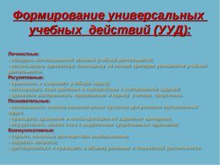 Формирование универсальных учебных действий (УУД):