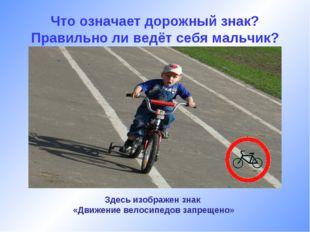 Что означает дорожный знак? Правильно ли ведёт себя мальчик? Здесь изображен