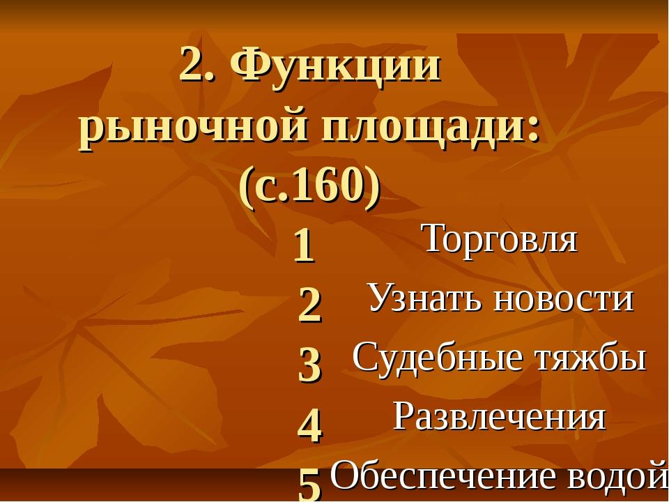 2. Функции рыночной площади: (с.160) 1 2 3 4 5 Торговля Узнать новости Судебн...