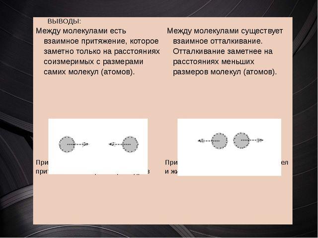 ВЫВОДЫ: Междумолекулами есть взаимное притяжение, которое заметно толь...