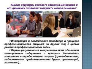 Анализ структуры делового общения менеджера и его динамики позволяет выделить